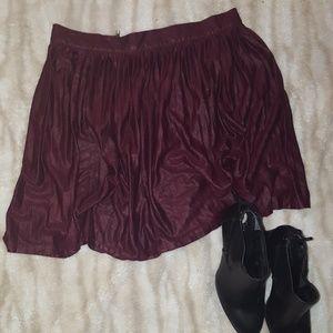 Shimmery Burgundy Wine Skater Skirt